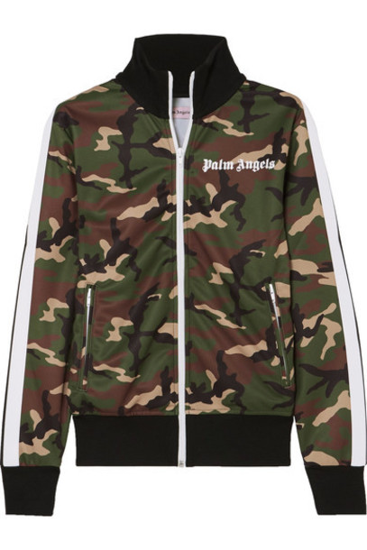 Palm Angels jacket camouflage print green satin army green