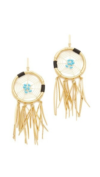 dreamcatcher earrings earrings gold turquoise jewels