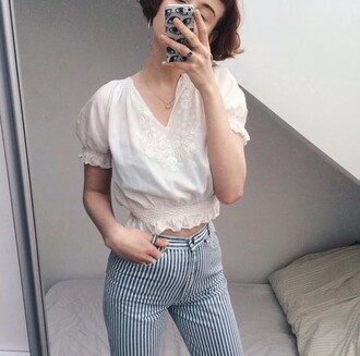 top white vintage cute old vintage top lovely see through transparent floral thrift crop tops short sleeve young girl beautiful low top tight fitted bodycon skinny thin