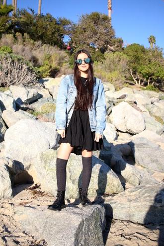 dress like jess blogger jacket dress shirt socks shoes bag sunglasses denim jacket boots flat boots
