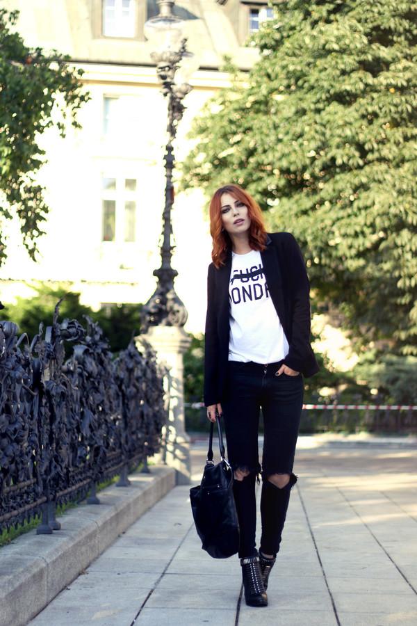 masha sedgwick shirt jacket shoes bag jeans