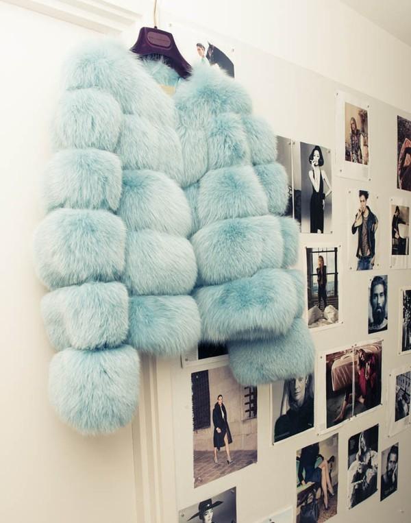 jacket clothes fur cool cute light blue coat
