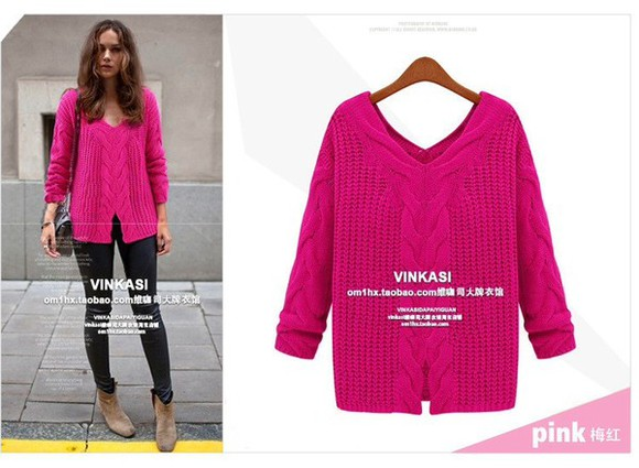 pink sweater aliexpress cable knit oversized sweater ivory