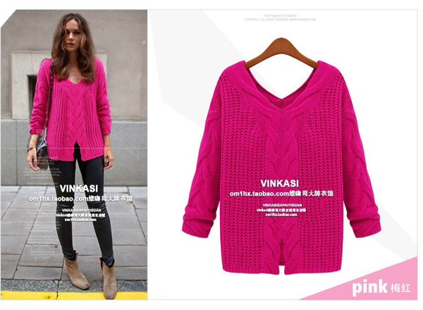 sweater aliexpress cable knit oversized sweater pink ivory