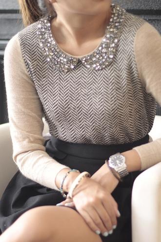 shirt peter pan collar sequins beige grey clothes sweater jumper knit blouse