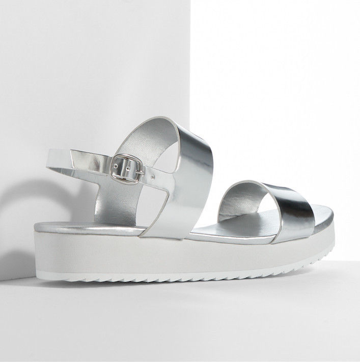 Metallic hologram platform flatform chunky strappy sandlas flats silver mirror