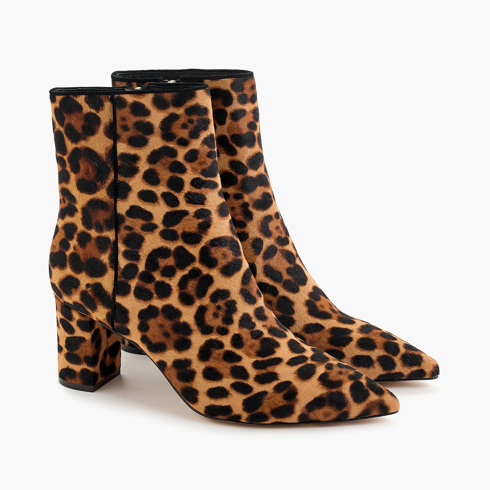Pointed-toe Sadie boots in leopard calf hair
