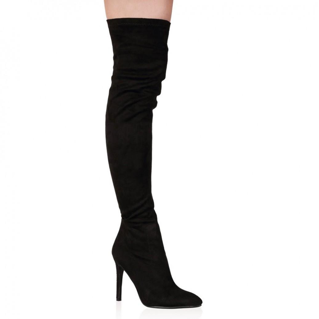 Laurel Black Over the Knee Heeled Boots | Public Desire