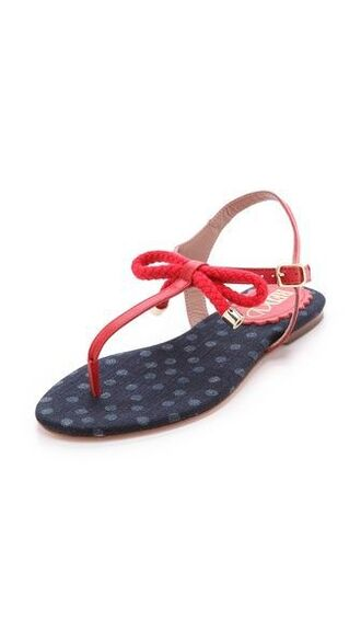 shoes sandals red flat sandals flat sandals red sandals red low heel sandals bow shoes