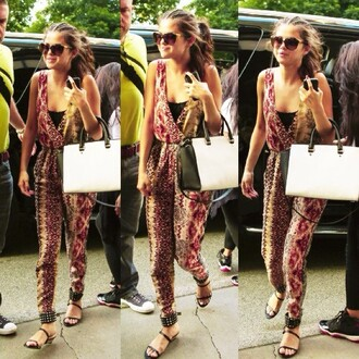 pants selena gomez jumpsuit purse mixed prints sunglasses shoes sandals bag
