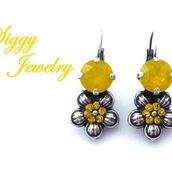 jewels,siggy jewelry,earrings,swarovski,yellow,opal,flowers,bling,drop earrings,super cute,fashion,style me,etsy,jewelry,hand made jewelry,crystal drop earrings,lever back earrings,bridesmaids gift,summer wedding,style,trendy,flower earrings,embellished,gift ideas,birthday gifts for her,streetstyle,accessories,sassy