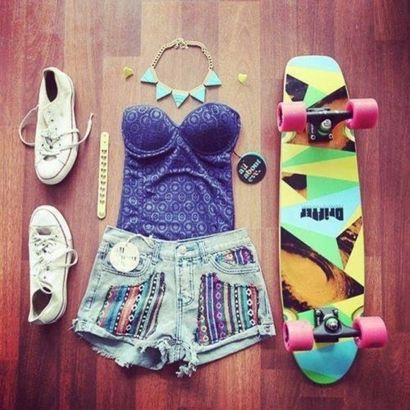 shirt shorts blue shirt necklase skater blue top indigo purple bustier bodice summer bag tank top denim colourful indi