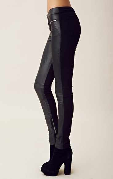 jeans black zippers leather pants denim