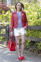 la petite anglaise,t-shirt,jacket,bag,shoes,jewels,patent leather bag,red bag,handbag,shorts,white shoes,white shorts,top,striped top,red jacket,leather jacket,flats,red shoes,spring outfits,patent bag,red loafers