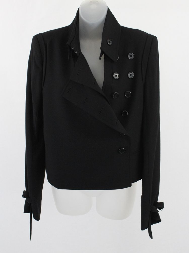 ANN DEMEULEMEESTER BLACK WOOL LONG SLEEVE JACKET BLAZER 42 12