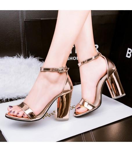 Metallic Bronze Ankle Strap Block Heel Sandals
