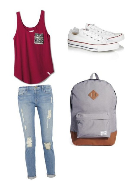 tank top outfit school girl jeans