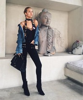 top,scarf,rosie huntington-whiteley,pants,denim jacket,instagram,model off-duty,fall outfits,jacket