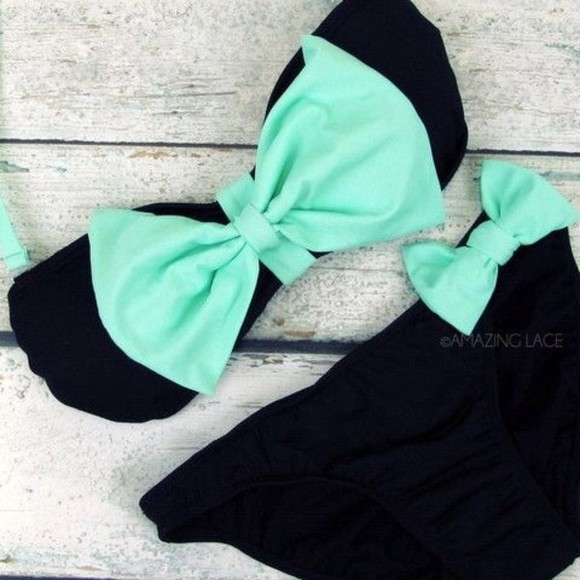 swimwear bathing suit bows blue bandeau bikini