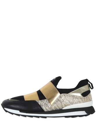 snake sneakers leather black beige shoes