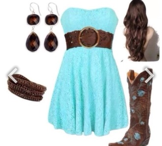 dress turquoise dress cowboy boots cowgirl boots cowgirl dress belt western style western country style mint dress brown shoes