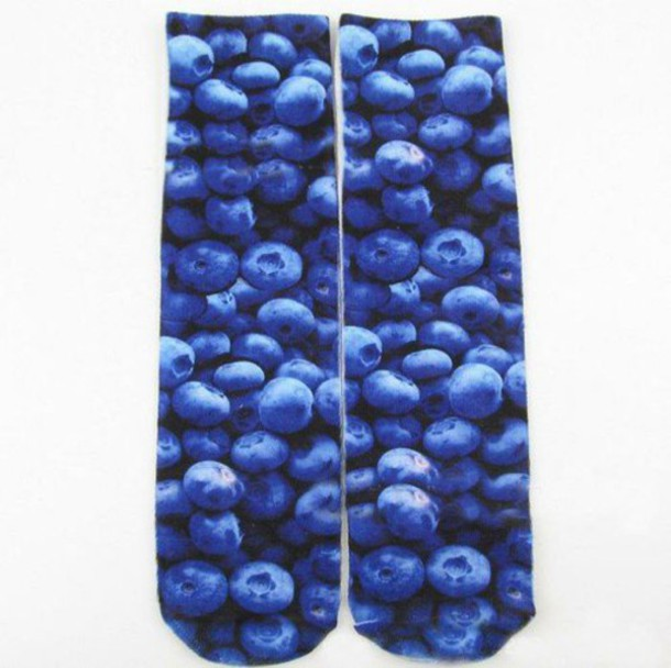 socks print food blue blueberry cute fruits 3d girly fashion tumblr internet grunge hipster boho bohemian love quote on it quote on it vogue
