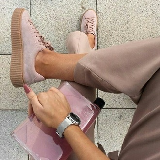 shoes pink creepers