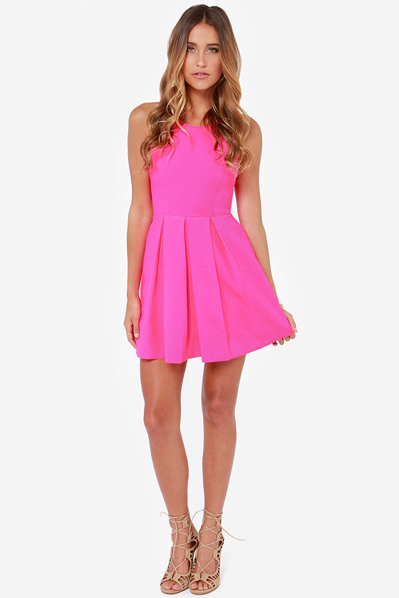 LULUS Exclusive Test Drive Neon Pink Dress