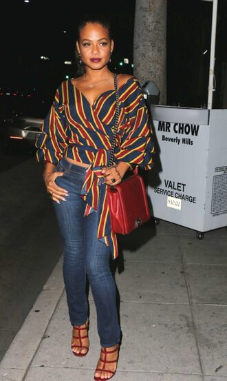 blouse stripes jeans denim sandals christina milian