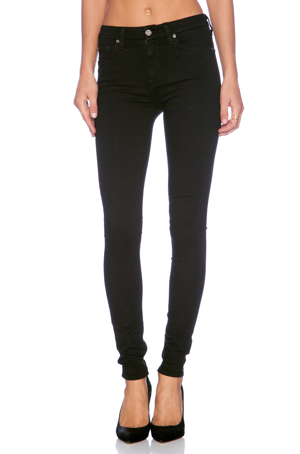 7 for all mankind the high waist skinny in slim illusion luxe black from revolveclothing.com