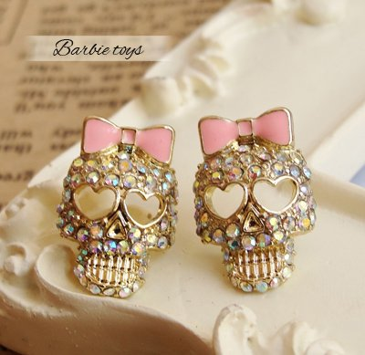 Min.order is $10 (mix order)Golden Alloy Rhinestone Skull Skeleton Bowknot Stud Earrings Free Shipping  E168-in Drop Earrings from Jewelry on Aliexpress.com