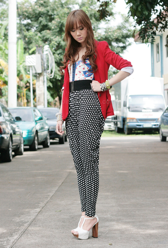 polka dots black pants pants polka dot pants high waisted pants blazer red blazer camille over the rainbow blogger sandals sandal heels high heel sandals platform sandals white sandals