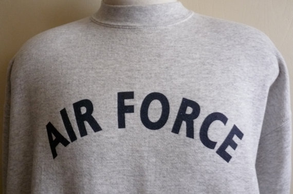 Vintage 90's us air force heather grey fleece graphic sweatshirt, men's/unisex sweater, tultex made in usa, men's size extra large
