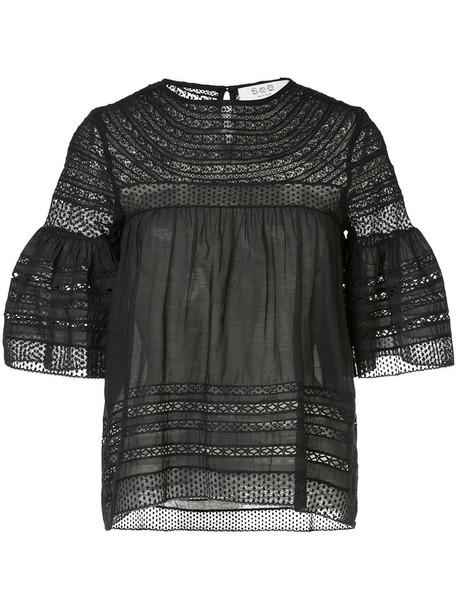 SEA blouse women lace cotton black crochet top