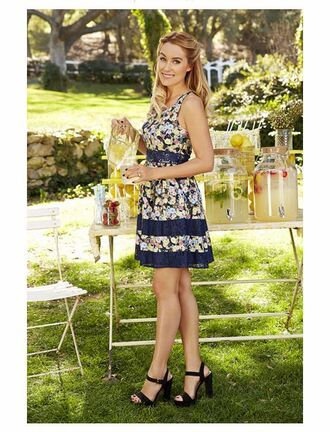 dress summer dress lauren conrad blogger sandals platform sandals flowers floral floral dress a line dress shoes