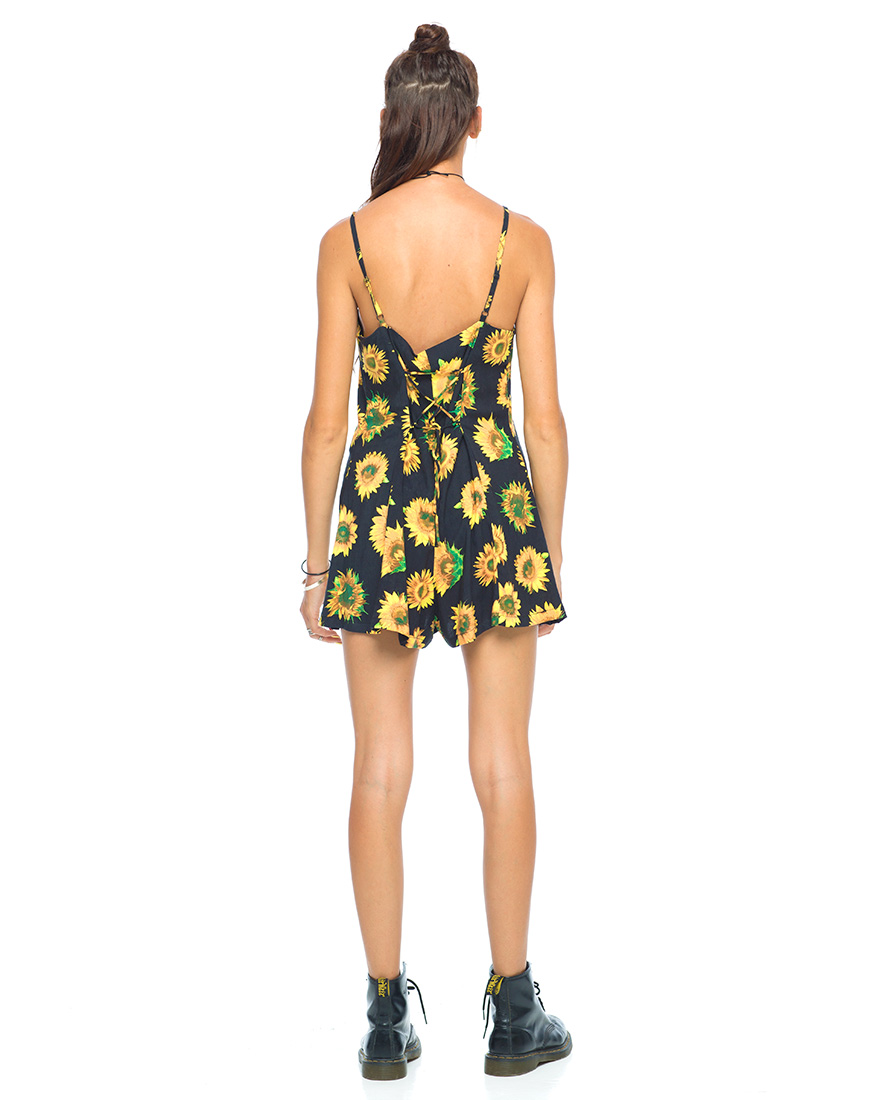 Motel Luella Strappy Playsuit in Sunflower Print
