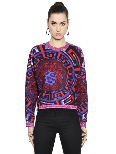 VERSACE sweatshirt neoprene purple sweater