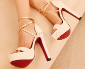 shoes,gold strap sandal,sandal heels,red bottom pumps,open toes,white and gold heels