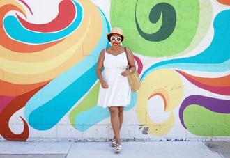 closetconfections blogger dress hat bag jewels sunglasses shoes