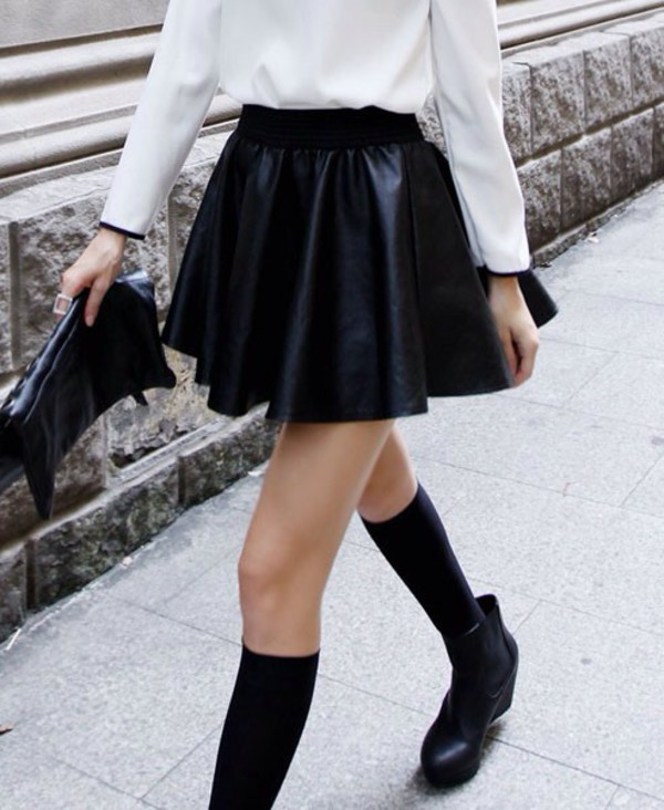 skirt black leather skirt high waisted skirt black skirt skater skirt