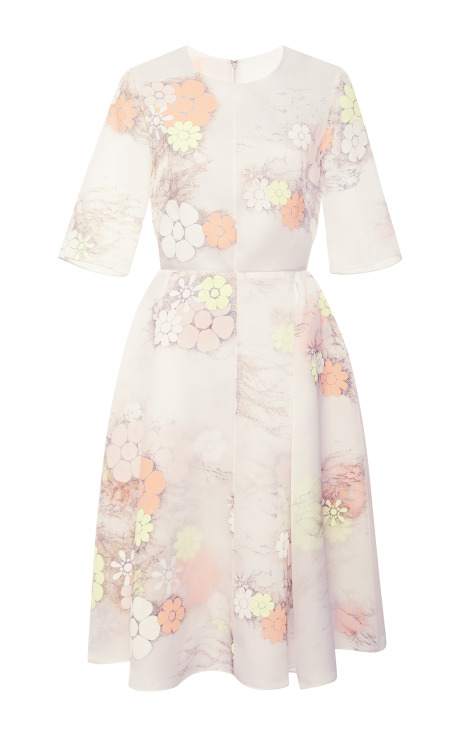 Neon floral organza jewel neck dress by honor
