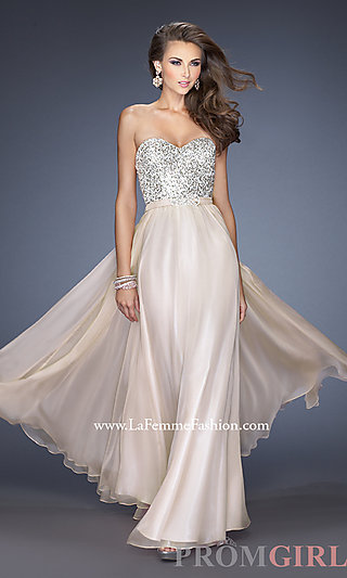 Sequined evening dress, long sequin strapless prom gown