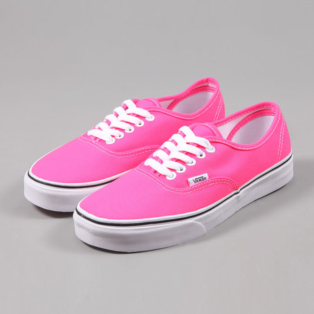 Vans Authentic Trainers - Neon Pink/True White at Ozzys Clothing