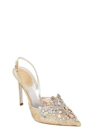pumps lace gold shoes
