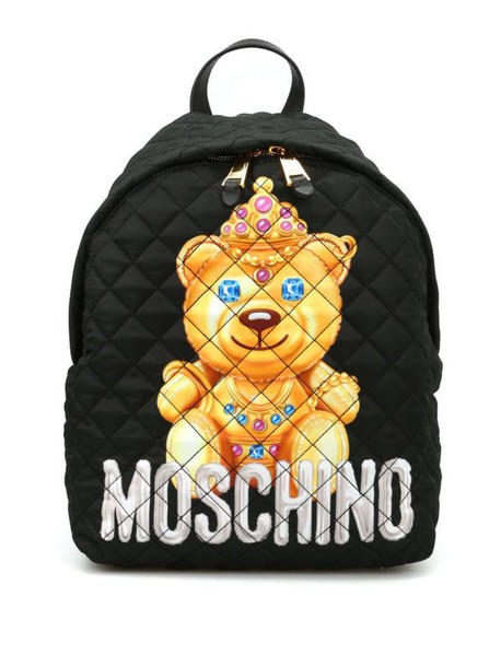 Moschino bear quilted backpack black bag