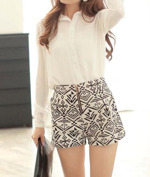 pattern girly print black and white blouse shorts black black & w High waisted shorts pattern shorts tribal pattern