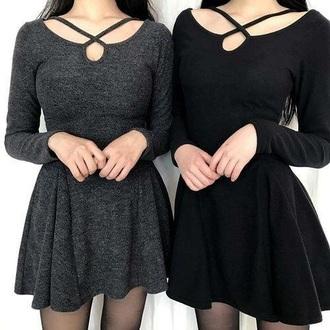 dress black dress grey dress tumblr grunge