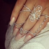 jewels,ring,silver,chain ring,diamonds,nail accessories,elegant,silver ring,jewelry,silver jewlery,fashion,style,thin rings,midi rings hand jewelry