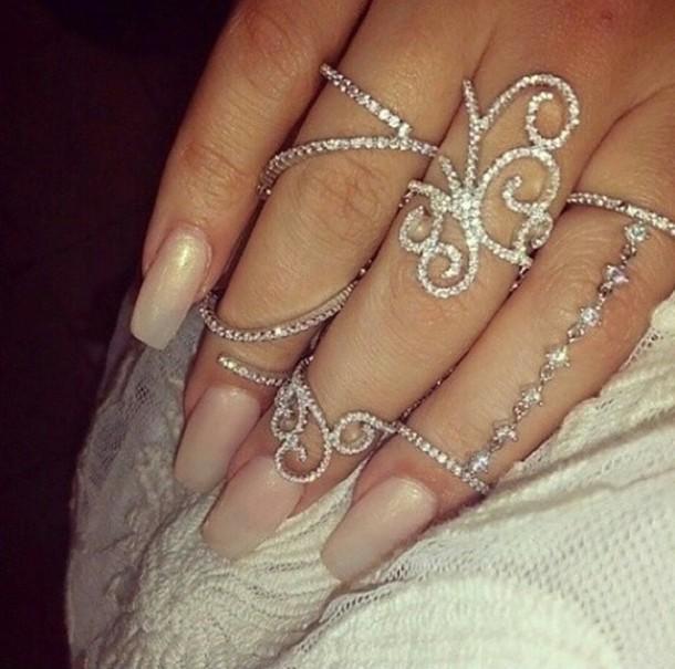 jewels ring silver chain ring diamonds nail accessories ring elegant silver ring jewelry silver jewlery fashion style thin rings midi rings hand jewelry