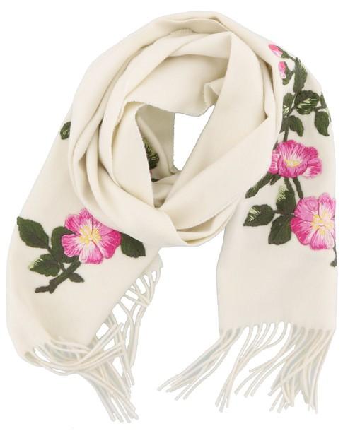 gucci scarf flowers silk white